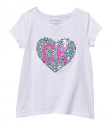 Calvin Klein Girls White Glitter Heart Logo T-Shirt