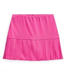 Ralph Lauren Girls College Pink Pleated Stretch Ponte Skort