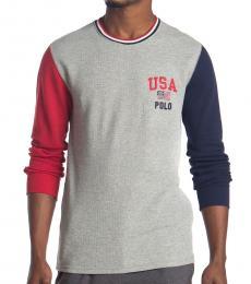 Ralph Lauren Grey Waffle Colorblock Sweater