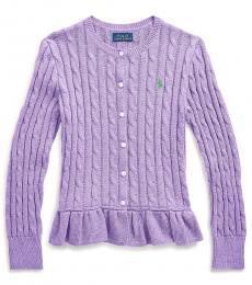Girls Safari Purple Heather Cable Peplum Cardigan
