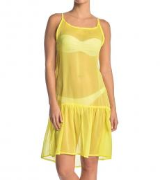Rachel Roy Yellow Sheer Flounce Hem Cover-Up Dress