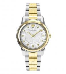 Versace Silver Gold Logo Watch