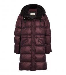 Coach Bordeaux Long Puffer Jacket