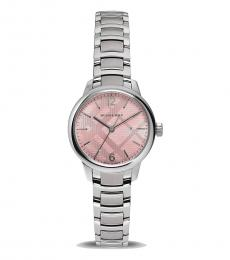 Burberry Silver Pink Dial Watch
