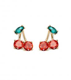 Kate Spade Gold-Red Green Cherry Earrings