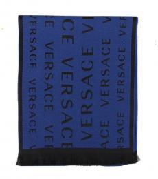 Versace Electric Blue Fine Fringe Scarf