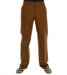Dolce & Gabbana Brown Stretch Cotton Pants