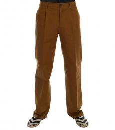 Dolce & Gabbana Brown Stretch Cotton Pants