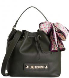 Love Moschino Dark Green Scarf Medium Bucket Bag