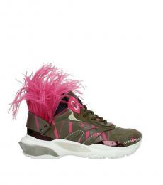Green Fuchsia Fur Detailing Sneakers