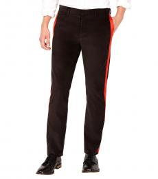 Calvin Klein Dark Brown Velvet Slim Fit Pants
