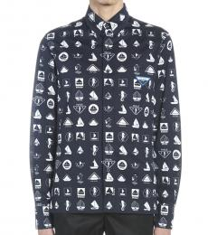 Navy Blue Boat Printed Shirt