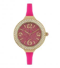 Pink Glitter Dial Watch