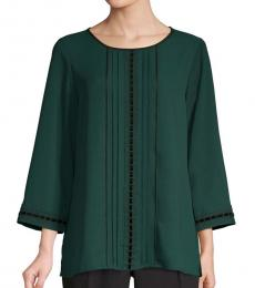 Bottle Green Lace-Trim Long-Sleeve Top