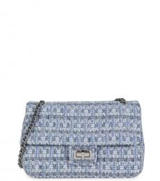 Blue Tweed Medium Shoulder Bag