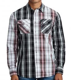 True Religion Pledge Panel Plaid Print Slim Fit Shirt