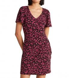 Dark Pink Printed Faux Wrap Dress