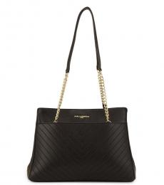 Karl Lagerfeld Black Quilted Chain Medium Tote