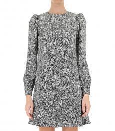 Michael Kors BlackWhite Mini Leopard Cady Flounce Dress