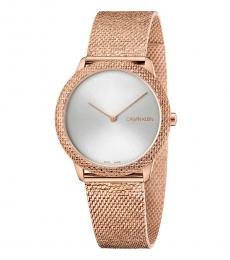 Rose Gold Minimal Silver Dial Watch