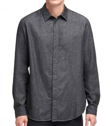 Black Woven Twill Button-Up Shirt