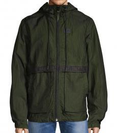 Diesel Black Hooded Front-Zip Jacket