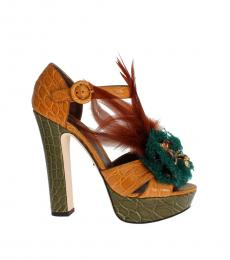 Dolce & Gabbana Green Yellow Feather Pumps