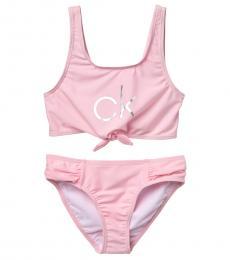 Calvin Klein Girls Pink Tie Front Bikini