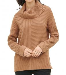 Beige Cowl Neck Mixed Ribbed Sweater