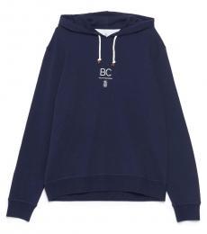 Brunello Cucinelli Navy Blue Logo Hoodie Sweatshirt