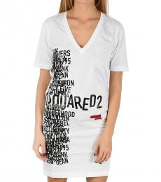 Dsquared2 White Logo Renny Fit T-Shirt Dress