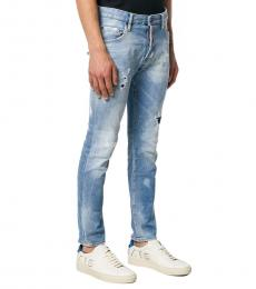 Dsquared2 Blue Patch Stonewashed Jeans