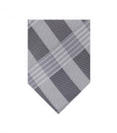 Grey Thick Semi Contrast Plaid Silk Tie
