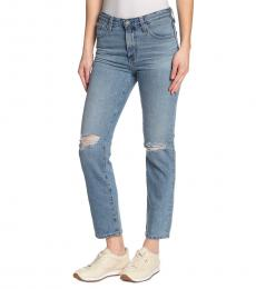 AG Adriano Goldschmied Blue Isabelle Distressed Straight Leg Jeans