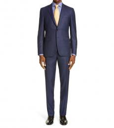 Canali Dark Blue Milano Fit Bird Eye Wool Suit
