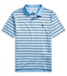 Boys Blue Lagoon Striped Performance Polo
