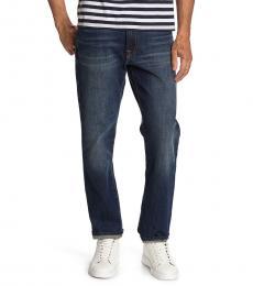 Dark Blue Slim Straight Mid Rise Fit Jeans