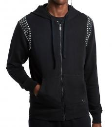 True Religion Black Studded Hooded Jacket