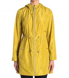 Vince Camuto Yellow Solid Hooded Anorak Jacket