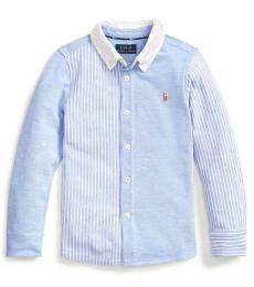 Little Boys Harbor Island Blue Knit Oxford Fun Shirt