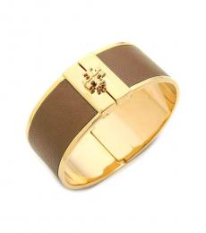 Tory Burch Light Brown-Gold Leather Inlay Cuff Bracelet