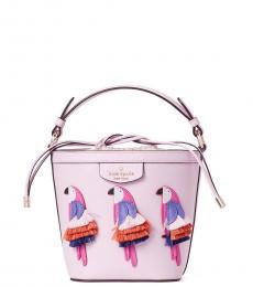 Kate Spade Pink Flock Party Parrot Pippa Mini Bucket Bag