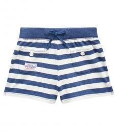 Ralph Lauren Little Girls Indigo Heather Striped Mesh Shorts