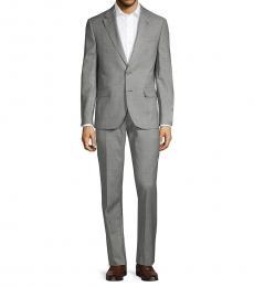 Karl Lagerfeld Grey Worsted Windowpane Suit