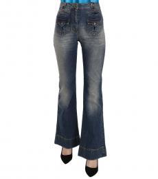 Just Cavalli Blue Washed Flared Denim Jeans