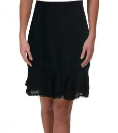 Karl Lagerfeld Black Embroidered Ruffled Hem Flounce Skirt