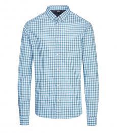Armani Jeans Light Blue Check Button Down Shirt