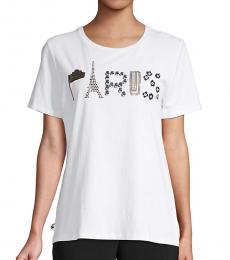 Karl Lagerfeld White Gold Paris Embellished Graphic T-Shirt