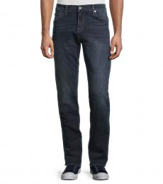 7 For All Mankind Navy Blue Standard-Fit Straight-Leg Jeans