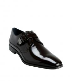Versace Collection Brown Polished Leather Dress Shoes
